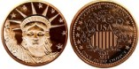 1 Oz Copper Lady Liberty Design Round