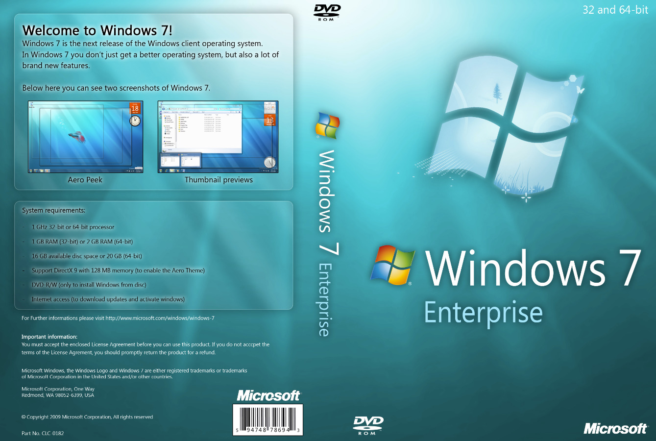 Windows keys – Windows 7 Enterprise MS direct down...
