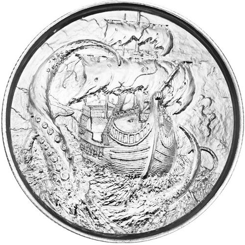Elemetal Kraken 2 oz Silver Ultra High Relief Round