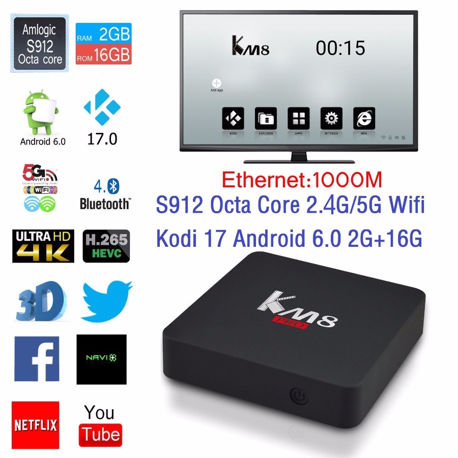 KM8 Pro 4K Smart TV Box Amlogic S912 Octa core Android