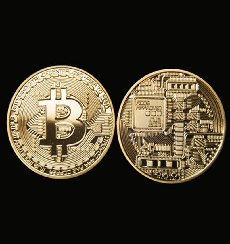 BITCOIN PHYSICAL COIN 999 FINE GOLDEN PLATED WITH CASE