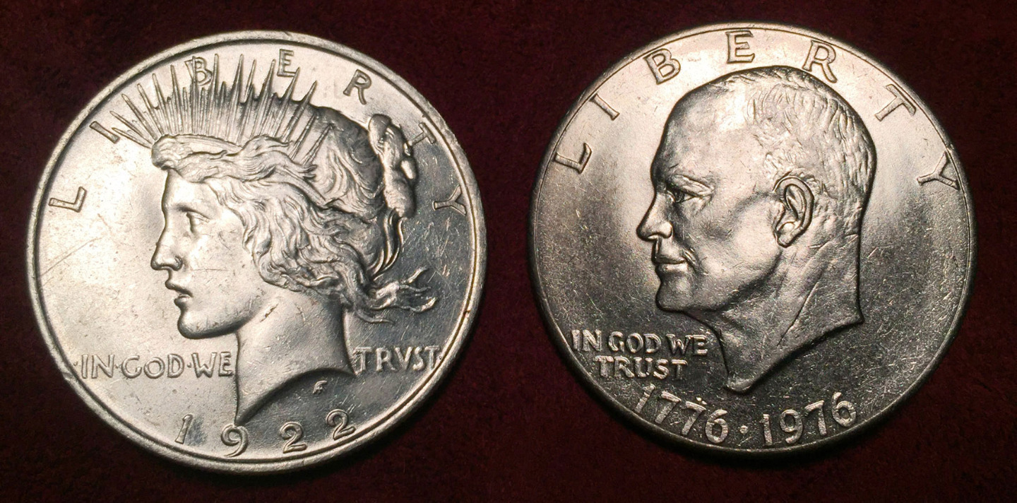 1922 Peace Silver Dollar with 1976 Bicentennial Ike $