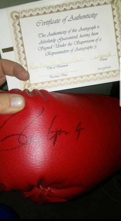 Roy Jones Jr hand signed boxing glove. With COA