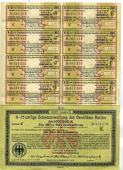 1922 German Treasury Bond Uncancelled 668 pcs - BitCoin