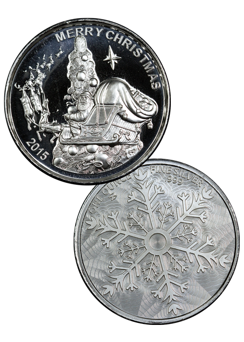 2015 Santa Claus 1 oz Silver High Relief Round