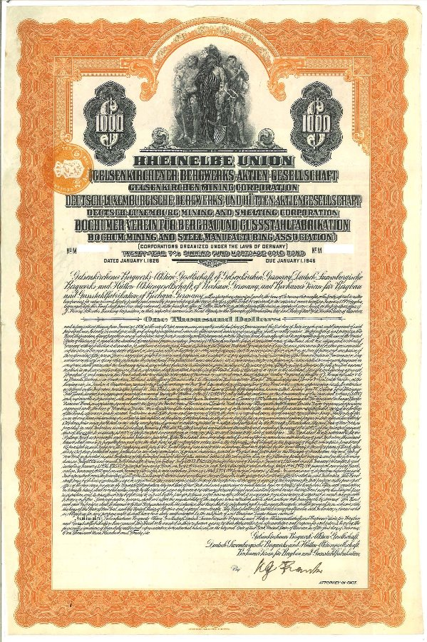 Rheinelbe Union $1000 German Gold Bond 1926 - Bitcoin