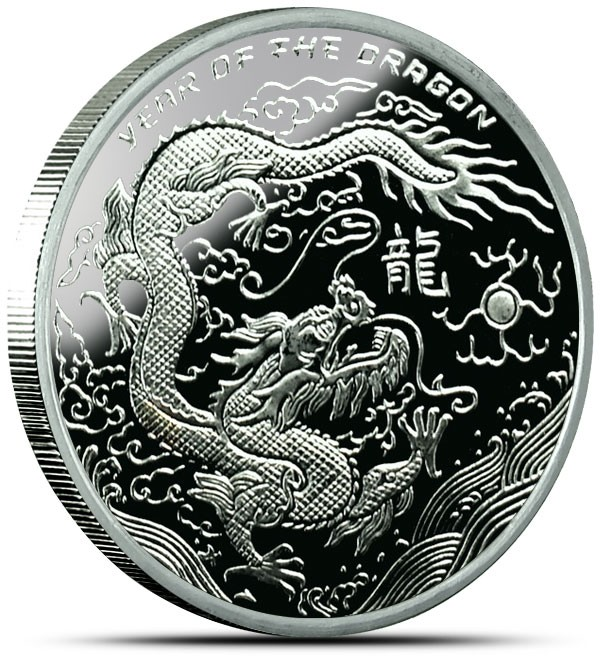 2012 Year of The Dragon 1 OZ Silver Round