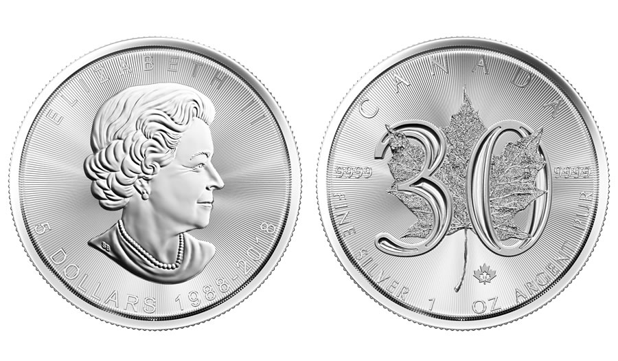2018 1 oz 30th Anniversary Canadian Silver Maple Leaf C