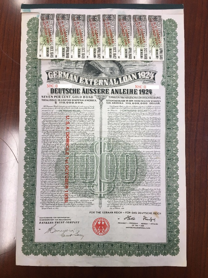 1924 German External Loan 7% Gold Bond $1,000 - BitCoin