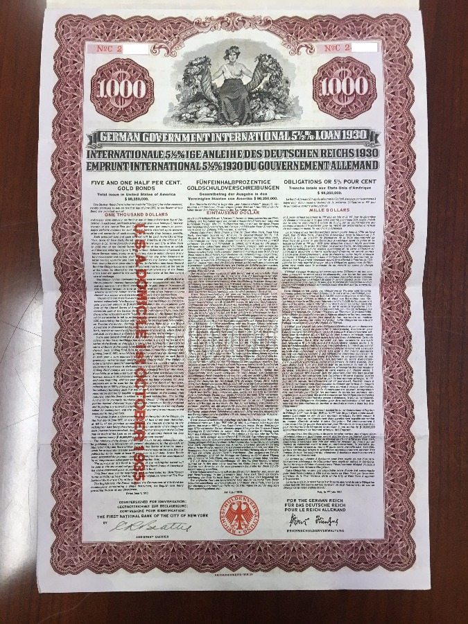 1930 German Government International 5 1/2% Loan $1000