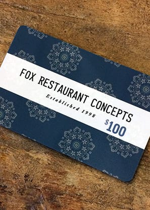 FOX restaurants Gift Card $100