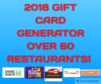 Gift Card Generator - Over 60 Restaurants! Instant!