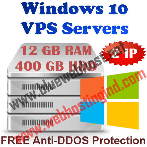 Windows 10 VPS 12GB RAM + 400GB HDD + DDOS