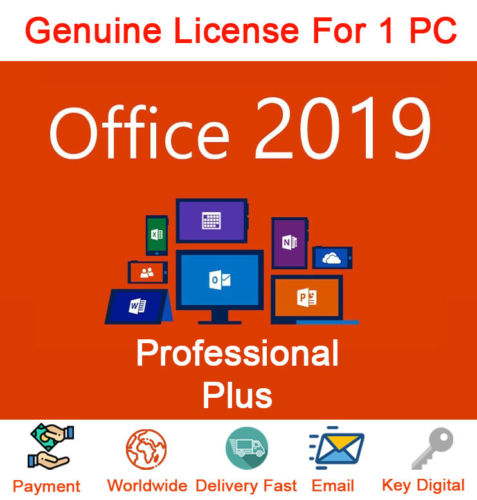 MICROSOFT OFFICE 2019 PRO PLUS 32/64-bit KEY (LIFETIME)