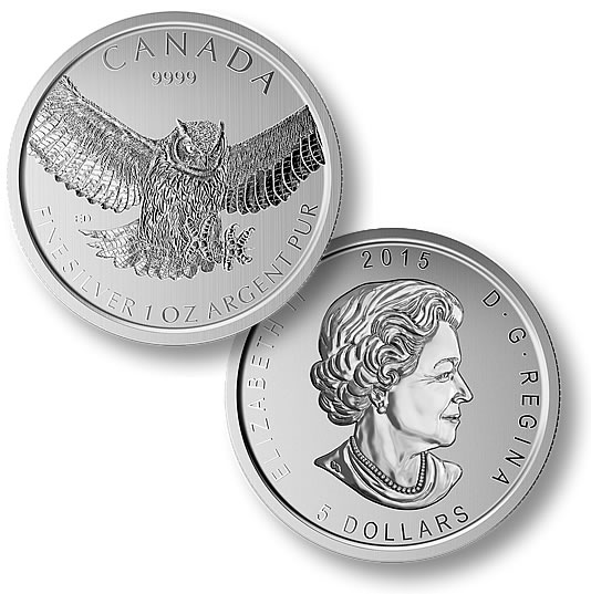 2015 1oz Canadian Silver Great Horned Owl Birds of Prey