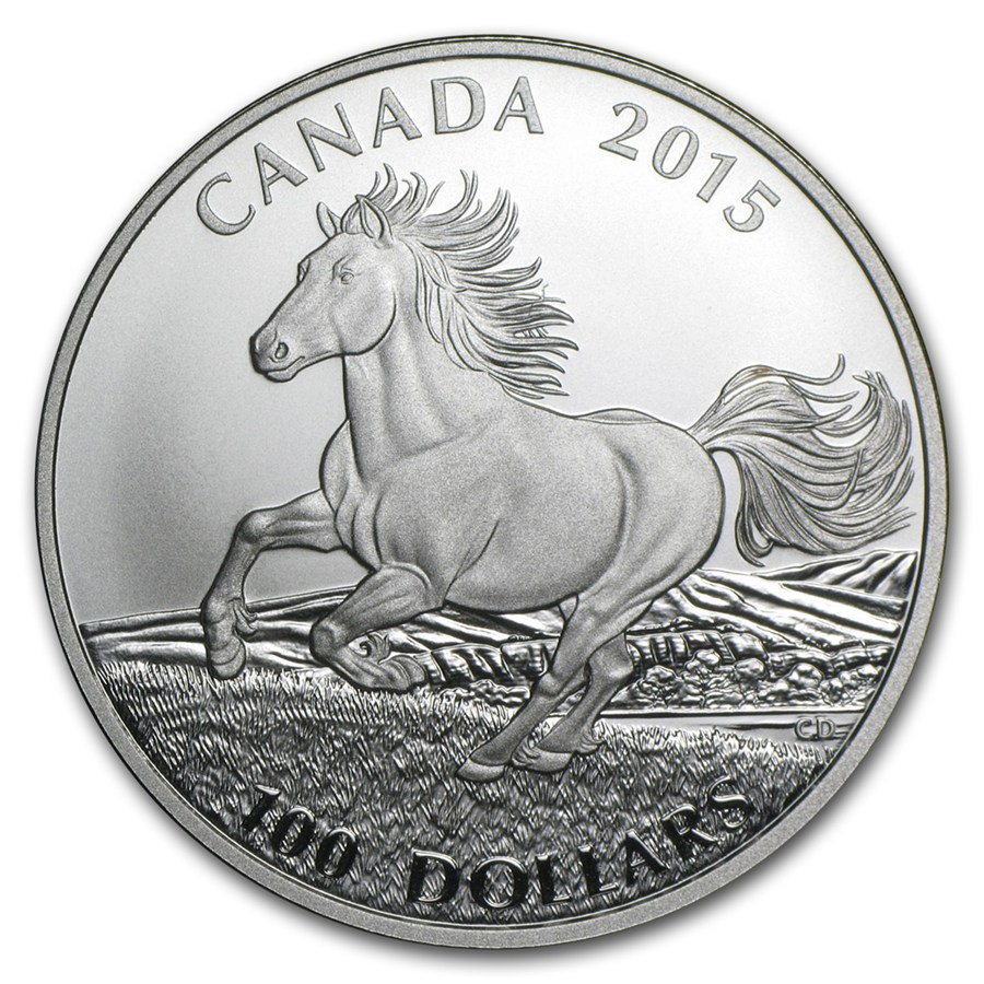 $100 for $100 Fine Silver Coin – Canadian Horse (2...