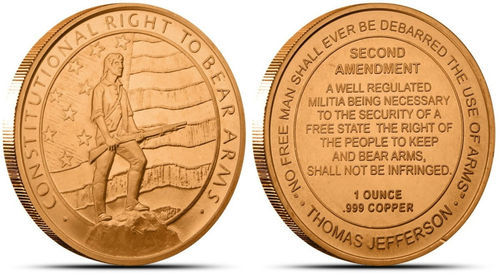 1 OZ Copper 2nd Ammendment Round