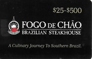 $200 Fogo de Chão  Gift Card ( In One Card )