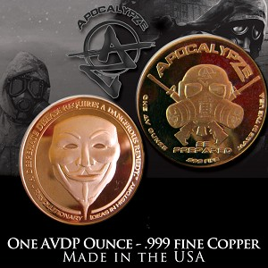 1 Ounce Copper Rounds Guy Fawkes by Apocalypze Mint.
