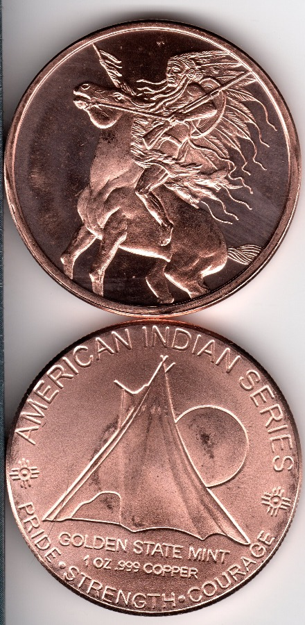 1 OZ Copper Indian Series #4 Round