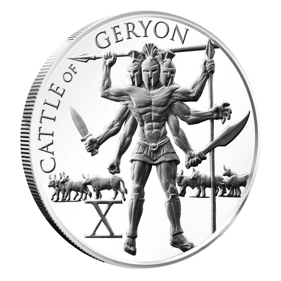 Cattle of Geryon 1 oz Silver  The 12 Labors of Hercules