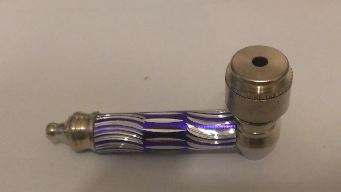 Purple Metal Pipe with cut-crystal pattern