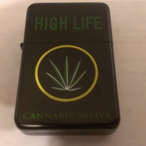 High Life Oil Lighter Green Lettering