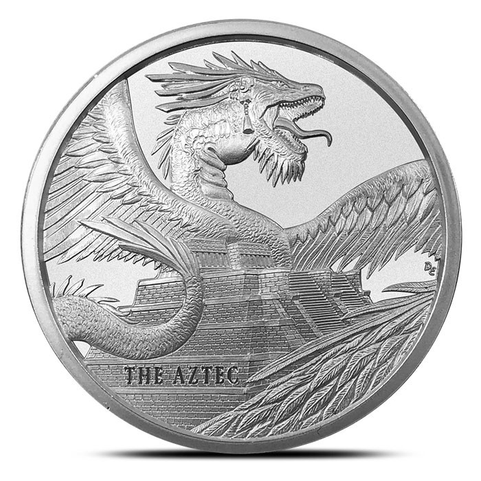 The Aztec 1 oz Silver Round | World of Dragons