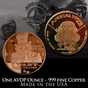 1 Ounce Copper Rounds Uncle Walker by Apocalypze Mint.