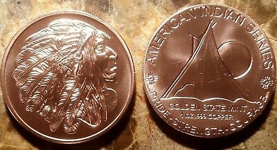 1 oz Copper Indian Series #5 Chief Bullion Round