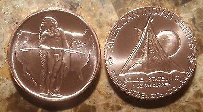 1 oz Copper Indian Series #6 Oregon Trail Bullion Round