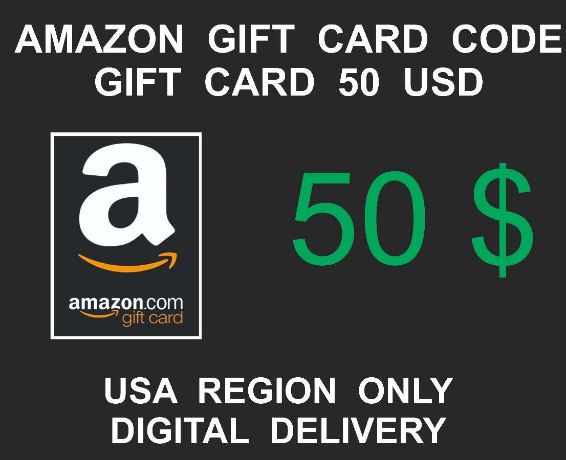 Amazon Gift Card Code, 50 USD Credits, USA Region