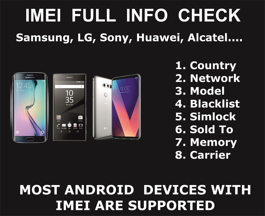 IMEI check Service, Samsung, LG, Pixel, Sony, Huawei, N