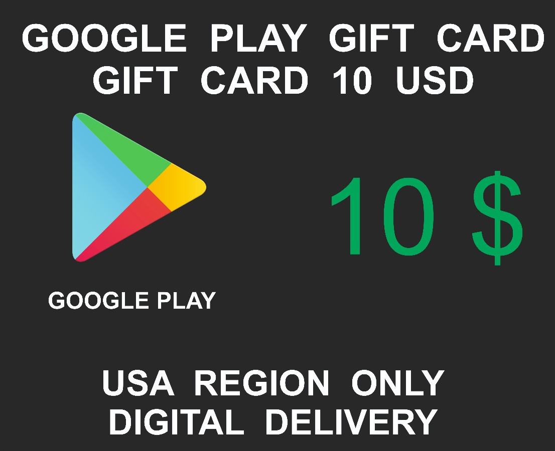 Google Play Gift Card Code, 10 USD Credits, USA Region