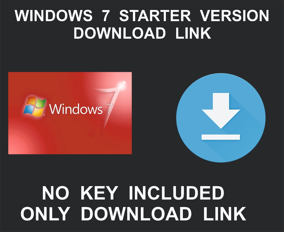 Microsoft Windows 7 Starter, 32 Bit, Download Link Only