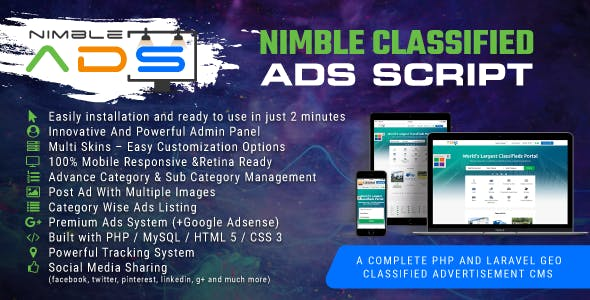Nimble Classified Ads Script v1.19 - Laravel bulletin b