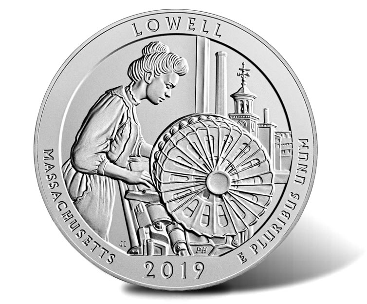 2019 5 oz Silver ATB Lowell National Historical Park,Ma