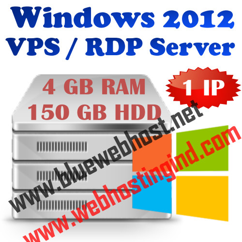 Windows VPS Server – Win 2012 + 4 GB RAM + 150 GB HDD