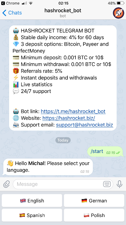 HYIP Telegram Bot
