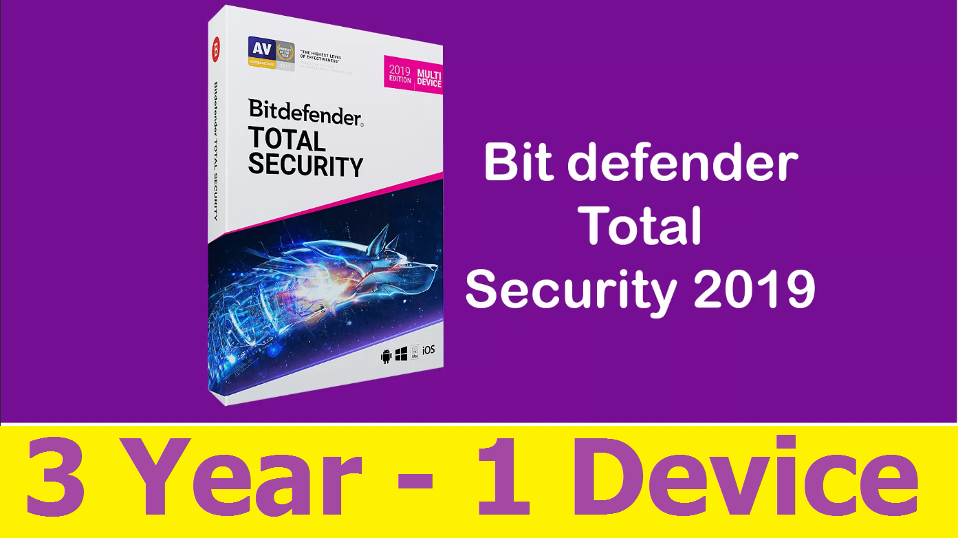 Bitdefender Total Security 2019 - 3 YEARS 1 DEVICE