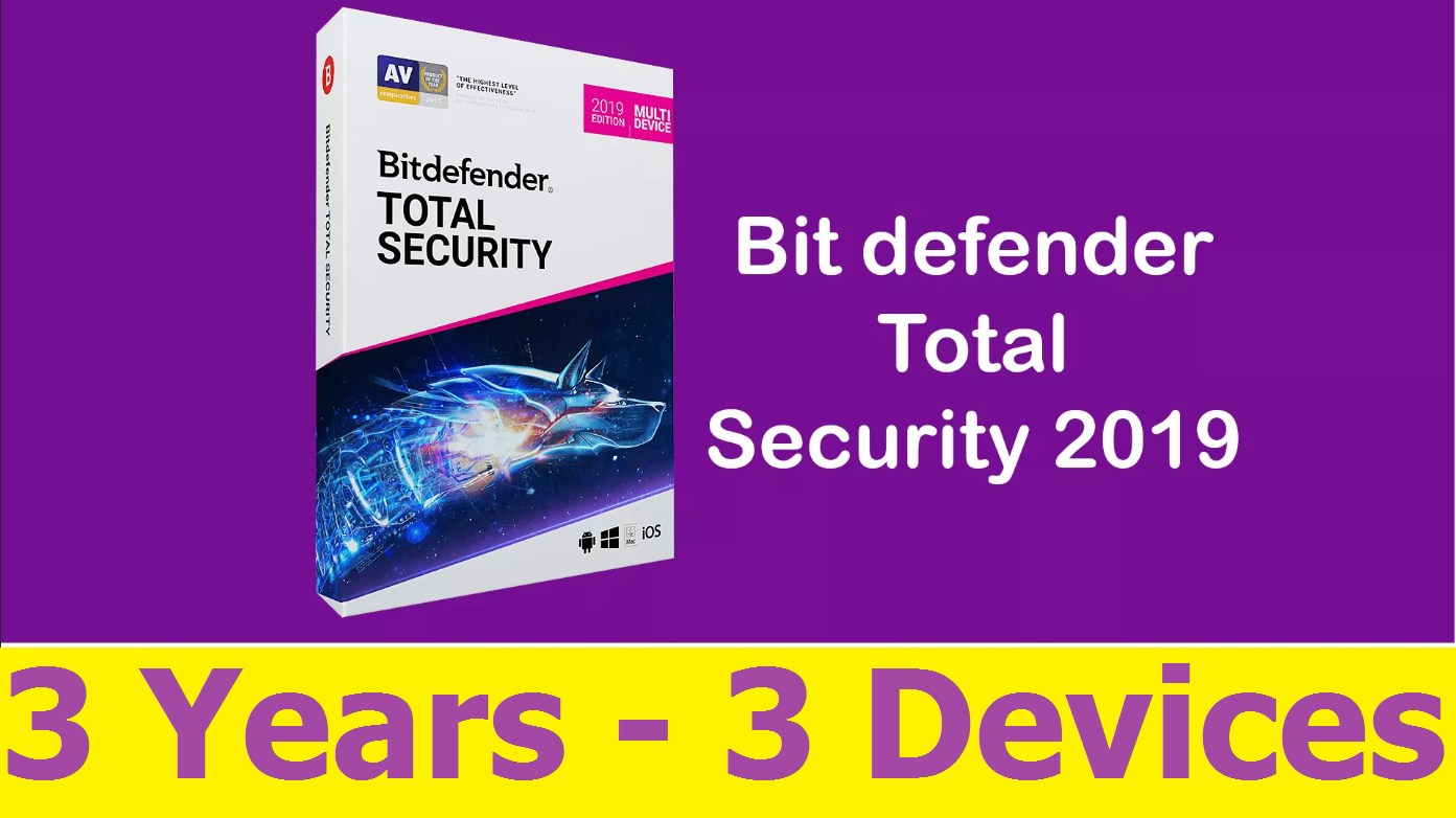 Bitdefender Total Security 2019 - 3 YEARS 3 DEVICES