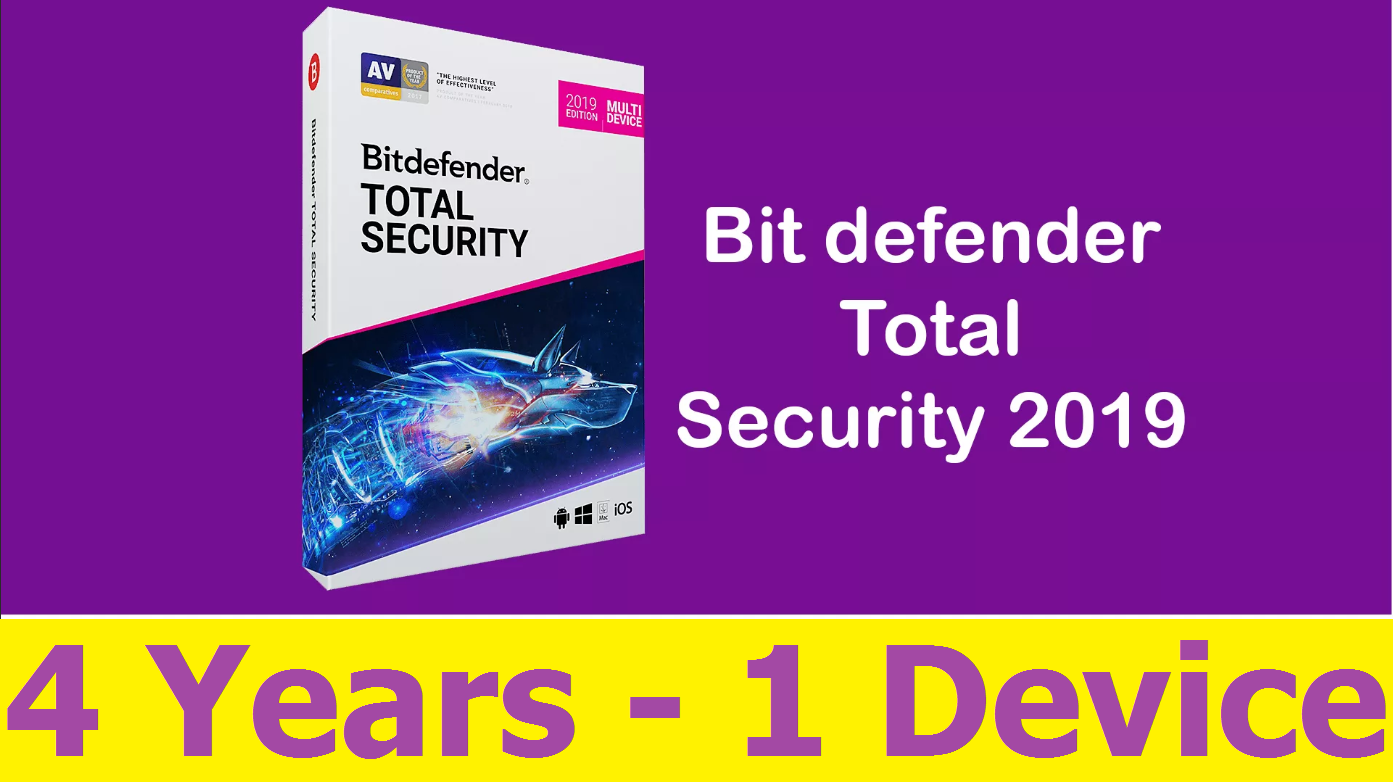 Bitdefender Total Security 2019 /2020- 4 Years 1 Device