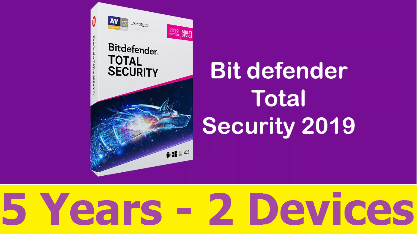 Bitdefender Total Security 2019 – 5 YEARS 2 DEVICES