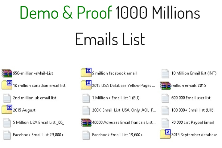 1000 Millions Email list good for email marketing