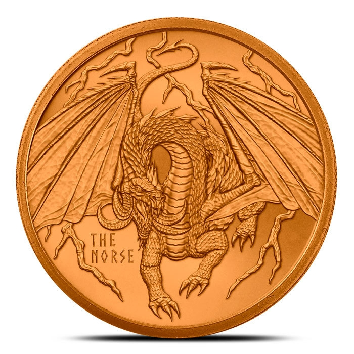 The Norse 1 oz Copper Round | World of Dragons Series