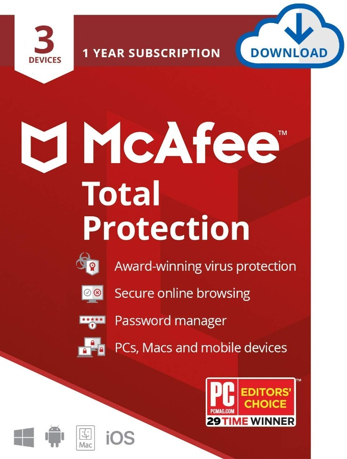 McAfee Total Protection 2020 5 Year's 3 Device's Window