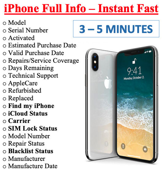 FAST iPhone info Check - IMEI /Simlock/Carrier /Find My