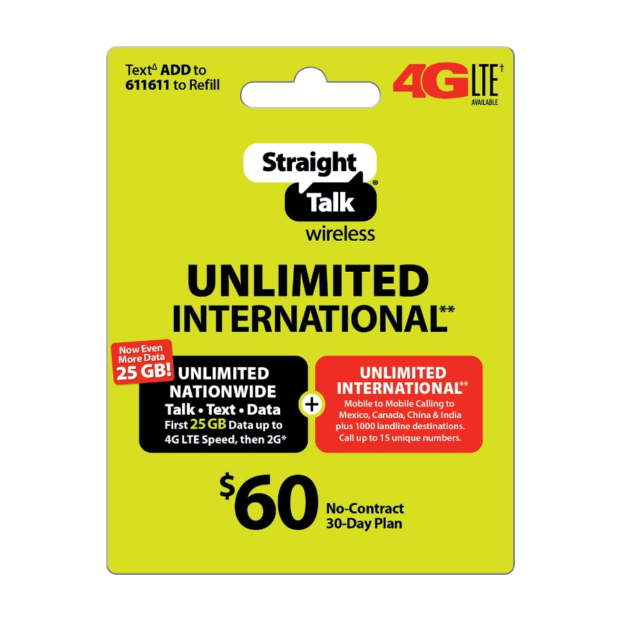 Straight Talk $60 Direct Top-Up International 30-Day