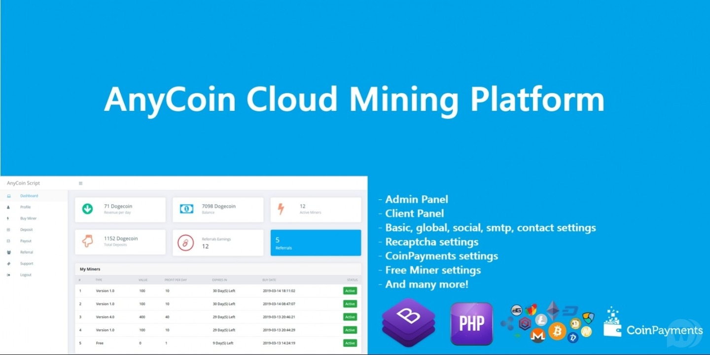 AnyCoin Cloud Mining Script v1.0.2 -crypto cloud mining