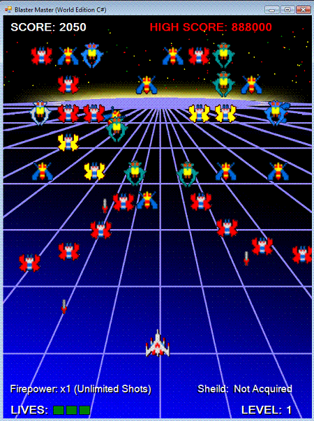 VB NET C# Blaster game (Space Invaders style)